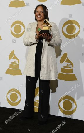 Us Musician Terri Lyne Carrington Holds Her Award For Best Jazz Instrumental Album 'Money Jungle : Provocative in Blue' at the 56th Annual Grammy Awards at the Staples Center in Los Angeles California Usa 26 January 2014 United States Los Angeles