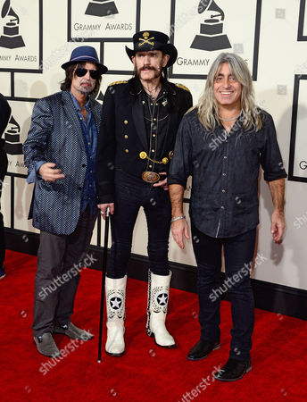 (l-r) Phil Campbell Ian Fraser Kilmister and Mikkey Dee of Motorhead Arrive For the 57th Annual Grammy Awards Held at the Staples Center in Los Angeles California Usa 08 February 2015 United States Los Angeles