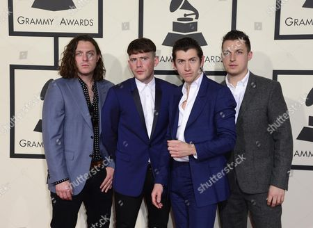 (l-r) Members of the Arctic Monkeys Matt Helders Nick O'malley Alex Turner and Jamie Cook Arrive For the 57th Annual Grammy Awards Held at the Staples Center in Los Angeles California Usa 08 February 2015 United States Los Angeles
