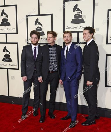 From (l-r) Joe Stillwell Bo Rinehart Bear Rinehart and Seth Bolt of Needtobreathe Arrive For the 57th Annual Grammy Awards Held at the Staples Center in Los Angeles California Usa 08 February 2015 United States Los Angeles