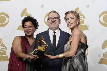 (l-r) Lisa Fischer Morgan Neville and Caitrin Rogers Hold the Award For 'Best Music Film' at the 57th Annual Grammy Awards Held at the Staples Center in Los Angeles California Usa 08 February 2015 United States Los Angeles