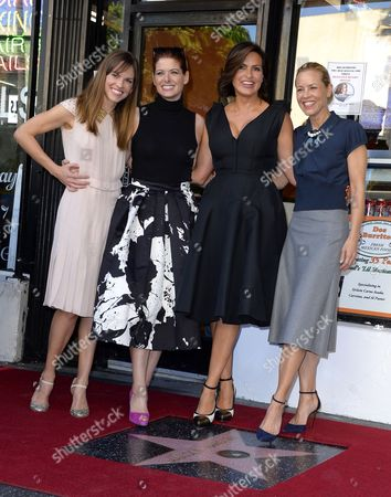 Us Actress Mariska Hargitay (2-r) and Friends Us Actresses Hillary Swank (l) Debra Messing (2-l) and Maria Bello (r) Poses with Hargitay's Star on the Hollywood Walk of Fame During Ceremony in Hollywood California Usa 08 November 2013 Hargitay was Awarded the 2 511th Star on the Hollywood Walk of Fame in the Category of Television Her Star is Located Next to the Star of Her Mother Us Actress Jayne Mansfield United States Hollywood