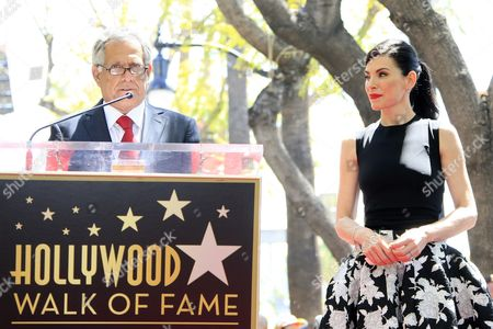 Us Actress Julianna Margulies Listens to Us Tv Executive Les Moonves (l) As She Receives a Star on the Hollywood Walk of Fame During Ceremony in Hollywood California Usa 01 May 2015 Margulies was Awarded the 2 550th Star on the Walk of Fame in the Category of Television United States Hollywood