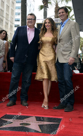 Colombian Actress Sofia Vergara (c) Us Actor Eric Stonestreet (l) and Us Television Producer Steve Levitan (r) Pose with Vergara's Star on the Hollywood Walk of Fame in Hollywood California Usa 07 May 2015 Vergara Received the 2551st Star on the Walk of Fame in the Category of Television United States Hollywood