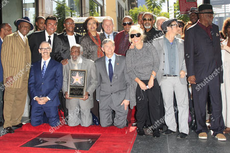 Stock Picture of Us Entertainer/activist Dick Gregory (3-l Front Row) with Guests (l-r Back Row) Us Comedian George Lopez Us Actor Tommy Davidson Us Congresswoman Dr E Faye Williams Us Politician Tom Labonge Us Musician Stevie Wonder Us Director and Producer George Schlatter and (l-r Front Row) Us Poltician Mitch O'farrell President of the Hollywood Chamber of Commerce Leron Gubler Us Comedienne Rosanne Barr Us Actor Rob Schneider and Us Actor Lou Gossett Jr on the Hollywood Walk of Fame During United States Hollywood