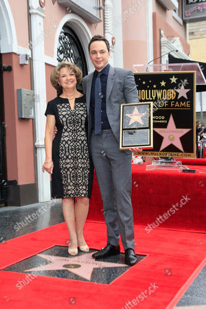 Us Actor Jim Parsons Poses with His Mother Judy Parsons (l) on His Star on the Hollywood Walk of Fame During a Ceremony in Hollywood California Usa 11 March 2015 Parsons was Awarded the 2 545th Star on the Hollywood Walk of Fame in the Category of Television United States Hollywood
