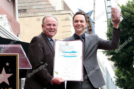 Us Actor Jim Parsons Poses with Councilman Tom Labonge (l) on His Star on the Hollywood Walk of Fame During a Ceremony in Hollywood California Usa 11 March 2015 Parsons was Awarded the 2 545th Star on the Hollywood Walk of Fame in the Category of Television United States Hollywood