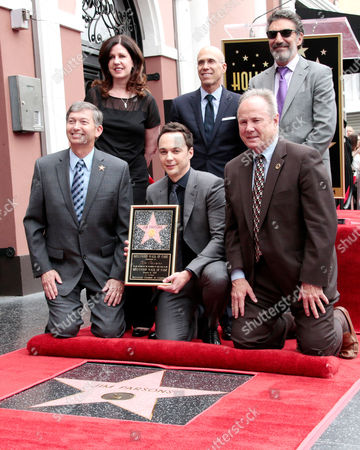 Us Actor Jim Parsons Poses with (back Row L-r) Maureen Schultz Jeffrey Katzenberg Chuck Lorre and Front Row President and Ceo of the Hollywood Chamber of Commerce Leron Gubler (l) and Councilman Tom Labonge (r) on His Star on the Hollywood Walk of Fame During a Ceremony in Hollywood California Usa 11 March 2015 Parsons was Awarded the 2 545th Star on the Hollywood Walk of Fame in the Category of Television United States Hollywood
