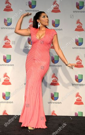 Singer Leslie Cartaya Poses in the Press Room During the 14th Annual Latin Grammy Awards Ceremony at the Mandalay Bay Resort and Casino in Las Vegas Nevada Usa 21 November 2013 United States Las Vegas