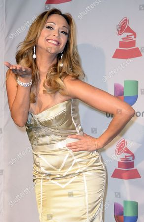 Stock Picture of Veronica Bastos Poses in the Press Room During the 14th Annual Latin Grammy Awards Ceremony at the Mandalay Bay Resort and Casino in Las Vegas Nevada Usa 21 November 2013 United States Las Vegas