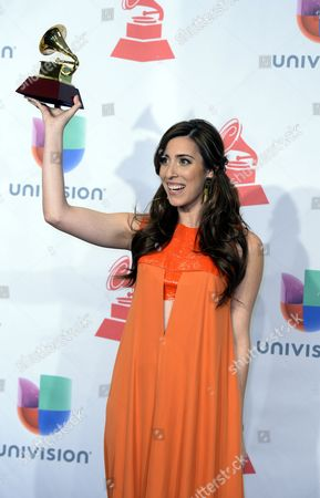 Singer Mariana Vega Holds the Latin Grammy For Best New Artist at the 15th Annual Latin Grammy Awards at the Mgm Grand in Las Vegas Nevada Usa 20 November 2014 Latin Grammy Awards Recognize Artistic And/or Technical Achievement not Sales Figures Or Chart Positions and the Winners Are Determined by the Votes of Their Peers-the Qualified Voting Members of the Academy United States Las Vegas