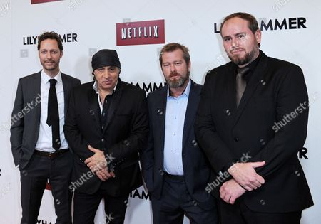 Stock Image of Us Actor Steven Van Zandt (2-l) with Norwegian Actors Trond Fausa (l) Fridtjov Saheim (2-r) and Tommy Karlsen Sandum Attend the Red Carpet Screening of the Season Two Tv Series 'Lilyhammer' in New York Usa 19 November 2013 United States New York