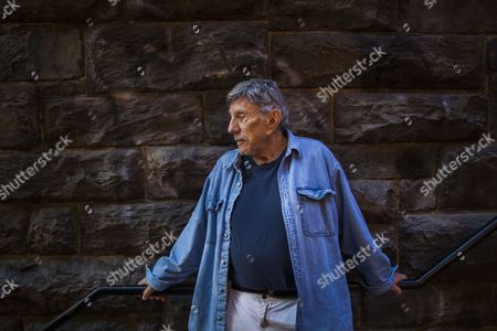 Stock Image of An Image Made Available on 01 November 2013 Shows Us Author and Screenwriter of 'The Exorcist ' William Peter Blatty on the So-called 'Exorcist Steps' in the Georgetown Neighborhood of Washington Dc Usa 29 October 2013 to Celebrate the 40th Anniversary of the Film Warner Bros is Re-releasing the Movie For One Week at the Amc Georgetown Movie Theatre United States Washington