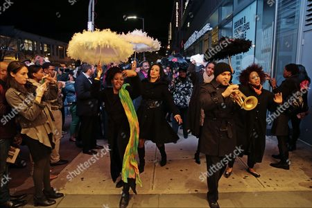 The New Orleans Jazz Orchestra Lead by Us Jazz Trumpeter Irvin Mayfield Jr (r) March to the Apollo Theater to Induct Jazz Great Louis Armstrong Into It's 'Walk of Fame' in New York New York Usa 07 November 2014 the Ceremony Starts the New Orleans to Harlem Jazz Weekend United States New York