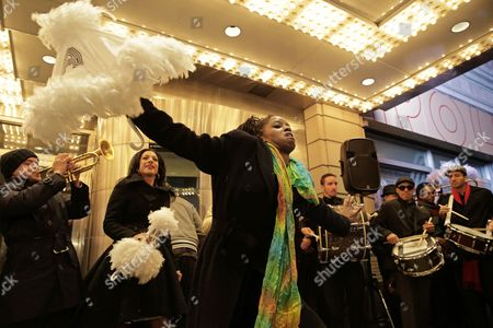 Dancers Along with the New Orleans Jazz Orchestra Lead by Us Jazz Trumpeter Irvin Mayfield Jr (l) Perform at the Apollo Theater to Induct Jazz Great Louis Armstrong Into It's 'Walk of Fame' in New York New York Usa 07 November 2014 the Ceremony Starts the New Orleans to Harlem Jazz Weekend United States New York