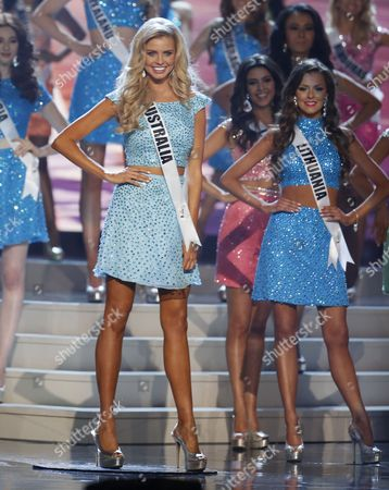 Miss Australia Tegan Martin Competes on Stage During the 2014 Miss Universe Final at the Fiu Arena in Miami Usa 25 January 2015 United States Miami
