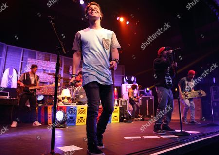 Keaton Stromberg (c) of the Us Rock Pop Band Emblem3 Performs at the Murat Egyptian Room in Indianapolis Indiana Usa 16 February 2014 United States Indianapolis