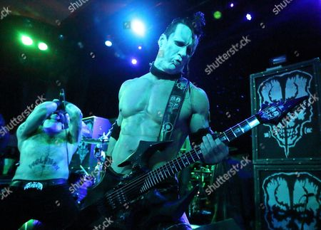 Former Misfits Member Doyle Wolfgang Von Frankenstein (r) of Us Band Doyle Performs on Stage During Their Concert at Vogue Theater in Indianapolis Indiana 24 March 2015 United States Indianapolis
