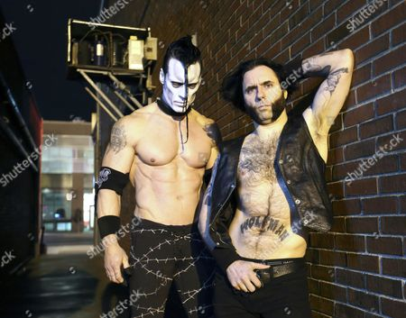 Former Misfits Member Doyle Wolfgang Von Frankenstein (l) and Lead Singer Alex Story of the Us Band Doyle Pose For a Picture at Vogue Theater in Indianapolis Indiana 24 March 2015 United States Indianapolis