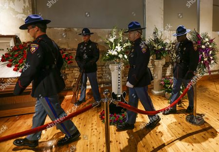 Officers From the Mississippi Highway Patrol Honor Guard Enter the Hall During the Visitation and Public Viewing of the Body of Blues Legend B B King at the B B King Museum in Indianola Mississippi Usa 29 May 2015 King Died 14 May While in Home Hospice Care in His Home in Las Vegas Nevada Usa and Will Be Buried in Indianola on 30 May United States Indianola