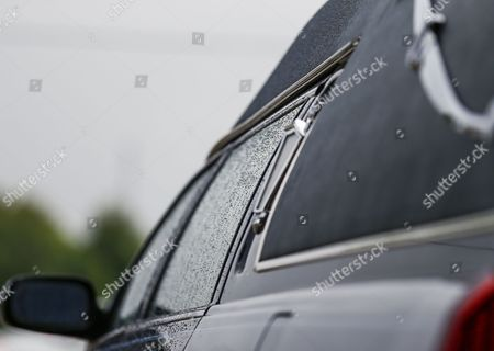 Rain Drips Run Down the Window of the Hearse During Funeral Services For Blues Legend B B King at Bell Grove Missionary Baptist Church in Indianola Mississippi Usa 30 May 2015 King Died 14 May While in Home Hospice Care in His Home in Las Vegas Nevada Usa and Will Be Buried in Indianola at the B B King Museum United States Indianola