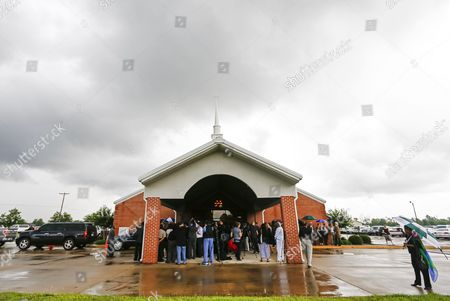 Friends and Family Gather Under Cloudy Skies For Funeral Services For Blues Legend B B King at Bell Grove Missionary Baptist Church in Indianola Mississippi Usa 30 May 2015 King Died 14 May While in Home Hospice Care in His Home in Las Vegas Nevada Usa and Will Be Buried in Indianola on 30 May United States Indianola