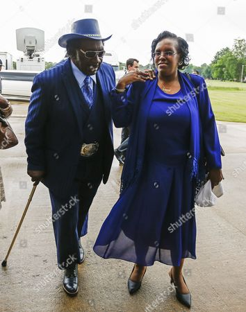 Blues Musician Big George Brock (l) Arrives For the Funeral Service For Blues Legend B B King at Bell Grove Missionary Baptist Church in Indianola Mississippi Usa 30 May 2015 King Died 14 May While in Home Hospice Care in His Home in Las Vegas Nevada Usa and Will Be Buried in Indianola on 30 May United States Indianola