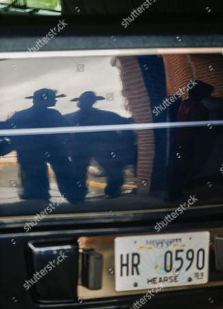 Two Mississippi Law Enforcement Officers Are Reflected in the Rear of the Hearse During Funeral Services For Blues Great B B King at Bell Grove Missionary Baptist Church in Indianola Mississippi Usa 30 May 2015 King Died 14 May While in Home Hospice Care in His Home in Las Vegas Nevada Usa and Will Be Buried in Indianola at the B B King Museum United States Indianola