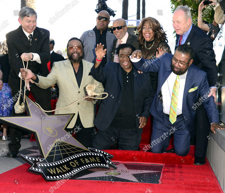 Hollywood Chamber of Commerce President Leron Gubler (l) Us Singer Stevie Wonder (2 L) Berry Gordy (c) Mary Wilson (2r) From the Supreme and La City Councilman Tom Labonge (r) Participate As Us Songwriters and Producers (bottom From L to R) Eddie Holland Lamont Dozier and Brian Holland Unveil Their Star on the Hollywood Walk of Fame in Hollywood California Usa 13 February 2015 This is the 2 543rd Star on the Hollywood Walk of Fame United States Hollywood