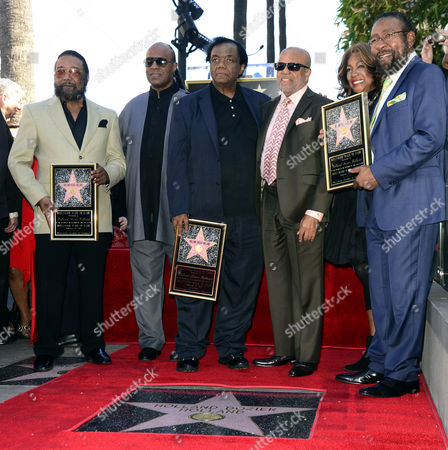 Stock Picture of Us Singer Stevie Wonder (2 L) Berry Gordy (3r) Mary Wilson (2r) From the Supreme Participate As Us Songwriters and Producers Eddie Holland (l) Lamont Dozier (3l) and Brian Holland (r) Are Honored with a Star on the Hollywood Walk of Fame in Hollywood California Usa 13 February 2015 This is the 2 543rd Star on the Hollywood Walk of Fame United States Hollywood