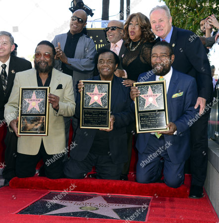 Stock Photo of Us Singer Stevie Wonder (top L) Berry Gordy (top 2nd L) and Mary Wilson (top 2nd L) From the Supreme Sing As Us Songwriters and Producers (bottom From L to R) Eddie Holland Lamont Dozier and Brian Holland Are Honored with a Star on the Hollywood Walk of Fame in Hollywood California Usa 13 February 2015 This is the 2 543rd Star on the Hollywood Walk of Fame at Top Right is La City Council Member Tom Labonge United States Hollywood