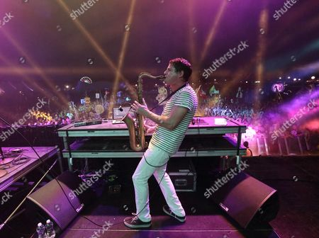 Dominic Lalli of the Us Hip-hop and Jazz Musical Group Big Gigantic Performs at the Hudson Valley Music Festival in Saugerties New York Usa 12 July 2014 United States Saugerties