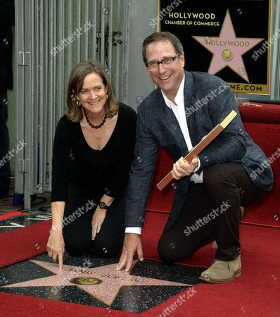 The Younger Siblings of Us Singer Janis Joplin Michael (r) and Laura Joplin (l) Pose Next to Their Sister's Star During a Ceremony Honoring Her Posthumously with a Star on the Hollywood Walk of Fame in Hollywood California Usa 04 November 2013 the Iconic Singer Died in 1970 and Received the 2 510st Star on Hollywood Boulevard United States Hollywood