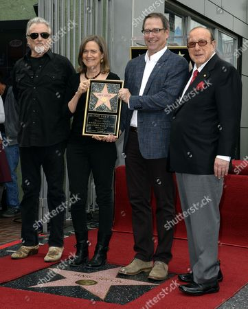 The Younger Siblings of Us Singer Janis Joplin Michael (2-r) and Laura Joplin (2-l) Us Singer Kris Kristofferson (l) and Us Record Producer Clive Davis (r) Pose Next to Janis Joplin's Star During a Ceremony Honoring Her Posthumously with a Star on the Hollywood Walk of Fame in Hollywood California Usa 04 November 2013 the Iconic Singer Died in 1970 and Received the 2 510st Star on Hollywood Boulevard United States Hollywood