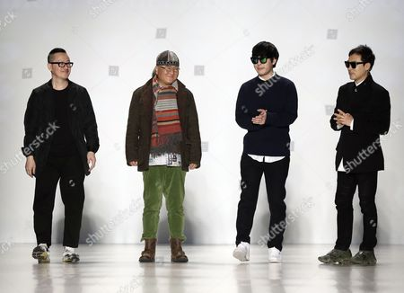 (l-r) Concept Korea Designers Kaal E Suktae Choi Boko Tae-young Ko and Park Youn Soo Appear on the Catwalk at the Conclusion of Their Show During Mercedes-benz Fashion Week in New York New York Usa 11 February 2014 the Fall Winter 2014 Collections Are Presented From 06 to 13 February United States New York