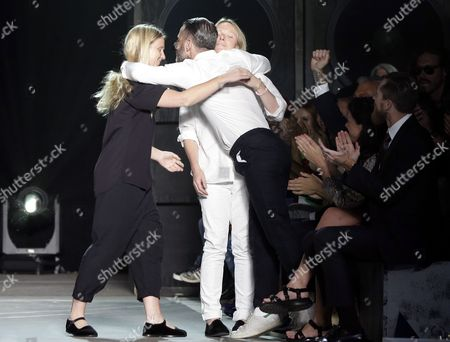 Katie Hillier (l) and Luella Bartley (r) the New Creatives Designers at Marc by Marc Jacobs Receive a Hug From Designer Marc Jacobs (c) at the Conclusion of the Spring/summer 2015 Collection by Marc by Marc Jacobs During Mercedes-benz Fashion Week in New York New York Usa 09 September 2014 the Spring 2015 Collections Are Presented From 04 to 11 September United States New York