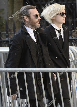 Us Actor Joaquin Phoenix (l) Arrives For the Funeral Mass For Us Actor Phillip Seymour Hoffan at St Ignatius Church in New York New York Usa 07 February 2014 Hoffman 46 Died 02 February From a Suspected Drug Overdose United States New York