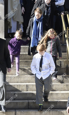 Long Time Girlfriend of Us Actor Phillip Seymour Hoffman Mimi O'donnel (2l) with Their Children Tallulah (l) Willa (r) and Cooper Alexander (2r) Leave the Funeral Mass For Hoffman at St Ignatius Church in New York New York Usa 07 February 2014 Hoffman 46 Died 02 February From a Suspected Drug Overdose United States New York