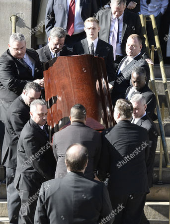 Pall Bearers Carry the Casket of Us Actor Phillip Seymour Hoffman As They Leave St Ignatius Church in New York New York Usa 07 February 2014 Hoffman 46 Died 02 February From a Suspected Drug Overdose United States New York