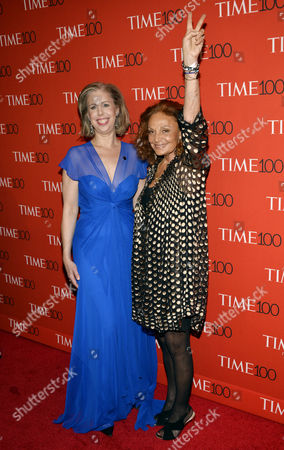 Time Magazine Managing Editor Nancy Gibbs (l) and Designer Diane Von Furstenberg (r) Arrive For the Time 100 Gala at Frederick P Rose Hall in New York New York Usa 21 April 2015 the Event is a Celebration of Time Magazine's Annual Issue Recognizing 100 of the World's Most Influential People United States New York