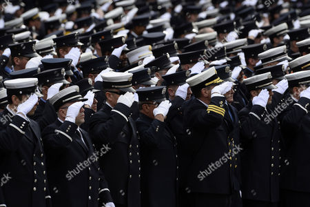 Thousands of Firefighters Stand to Attention During the Funeral Procession For Fallen Boston Fire Lt Edward Walsh in Watertown Massachusetts Usa 02 April 2014 Walsh and Firefighter Michael Kennedy Were Killed in a Fire in the Back Bay Section of Boston on 26 March 2014 United States Watertown
