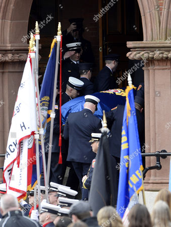Boston Firefighters Carry the Casket Into St Patrick's Church Before the Start of the Funeral For Fallen Boston Fire Lt Edward Walsh in Watertown Massachusetts Usa 02 April 2014 Walsh and Firefighter Michael Kennedy Were Killed in a Fire in the Back Bay Section of Boston on 26 March 2014 United States Watertown