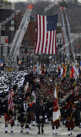 Over Four Hundred Bag Pipers Lead the Funeral Procession For Fallen Boston Fire Lt Edward Walsh in Watertown Massachusetts Usa 02 April 2014 Walsh and Firefighter Michael Kennedy Were Killed in a Fire in the Back Bay Section of Boston on 26 March 2014 United States Watertown