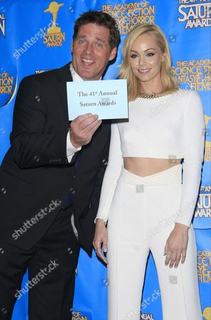 Us Actor Ben Browder and Us Actress Laura Vandervoort Pose at the 41st Annual Saturn Awards at the Castaway in Burbank California Usa 25 June 2015 the Award is Presented by the Academy of Science Fiction Fantasy and Horror Films Since 1972 United States Burbank