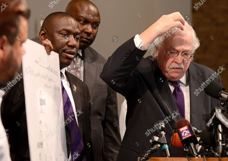 Dr Michael Baden (r) who Conducted an Independent Autopsy at the Request of Michael Brown's Family Explains That Brown Received a Gun Shot to the Top of His Head During a Press Conference at the Greater St Marks Family Church in Ferguson Missouri Usa 18 August 2014 Standing Next to Him Are Brown Family Attorneys Benjamin Crump Left and Daryl Parks United States St Louis