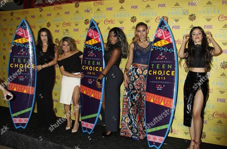 (l-r) Us Singers Lauren Jauregui Ally Brooke Hernandez Normani Kordei Dinah Jane Hansen and Camila Cabello of the Us Pop Girl Group Fifth Harmony Winners of the 'Choice Music Group: Female' Award Pose in the Press Room During the 2015 Teen Choice Awards Ceremony at the Galen Center in Los Angeles California Usa 16 August 2015 the Event Celebrates Teen Icons in Music Film Television Sports Fashion Comedy Video Games and the Internet United States Los Angeles