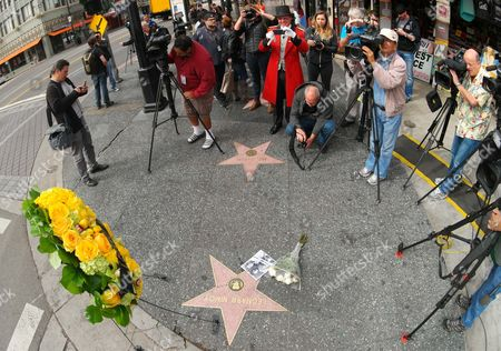 Reporters and People Gather at Leonard Nimoy's Star on the Hollywood Walk of Fame in Hollywood California Usa 27 February 2015 Leonard Nimoy the Actor who Played Mr Spock on the 1960s Us Television Series Star Trek is Dead Confirmed the Actor's Agent on 27 February the 83-year-old Died at His Home in Los Angeles the Cause of Death was End-stage Chronic Obstructive Pulmonary Disease (copd) Nimoy Acted in Numerous Movies and Television Series But was Best Known For His Portrayal of Spock in the Star Trek Tv Show and Movies where the Character Eventually was Promoted to Commander Though the Series Which Debuted in 1966 Ran Only Three Seasons the Role of the Unemotional Pointy-eared Vulcan Made Nimoy a Folk Hero United States Hollywood