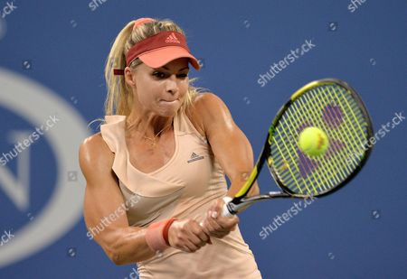 Maria Kirilenko of Russia Hits a Return to Maria Sharapova of Russia During the 2014 Us Open Tennis Championship at the Usta National Tennis Center in Flushing Meadows New York Usa 25 August 2014 the Us Open Runs Until 08 September a 15-day Schedule United States Flushing Meadows