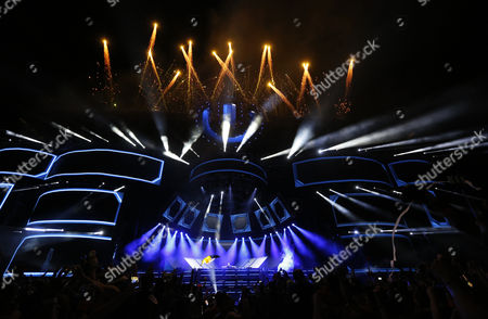 Dutch Dj Hardwell (rear C) Performs at the Ultra Music Festival in Miami Florida Usa 28 March 2015 United States Miami