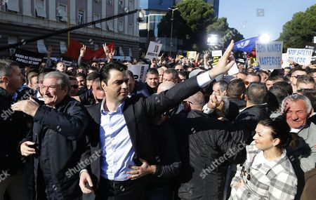 Stock Picture of Albanian Democratic Party Chairman Lulzim Basha (c) Address His Supporters As Former Democratic Leader and Former Prime Minister Sali Berisha (l) Looks on As Some Thousands Albanians Protest in Tirana Albania 22 November 2014 the Protesters Are Asking the Government For Better Living Conditions Lowering Taxes and Changing Economic Policies Albania Tirana
